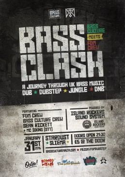 Bass Clash poster design for Bass Culture