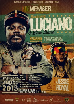 Iremember reggae event, Luciano & Jesse Royal in Toronto Canada