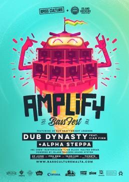 Amplify featuring Dub Dynasty, Alpha Steppa & Cian Finn poster design