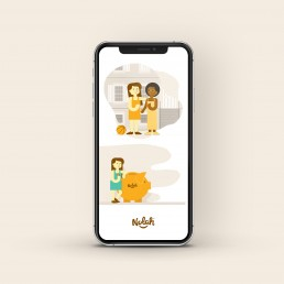 Nolah character illustrations on iphone