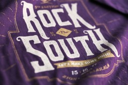 Close up shot of Rock the South 2016 t-shirt design
