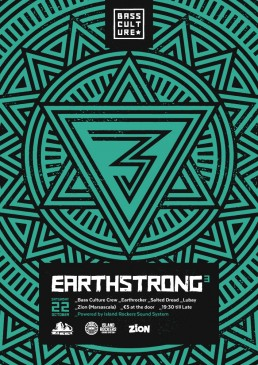 Poster design for Earthstrong 3 by Bass Culture Malta