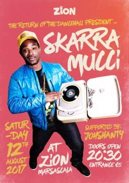 Poster design for reggae event featuring Skarramucci at Zion Malta