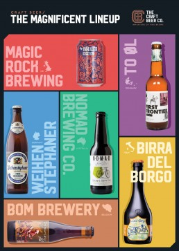 The Craft Beer Company, Magic Rock, To Øl, Weihenstephaner, Nomad Brewing, Birra Del Borgo, Bom Brewery poster design