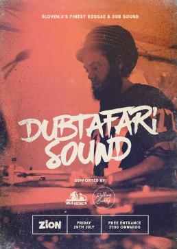 Poster design for reggae event featuring Dubtafari Sound at Zion Malta