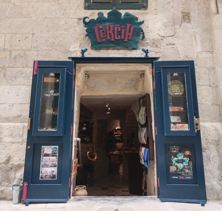 Exterior shot of Cekcik shop in Valletta showing hand made sign