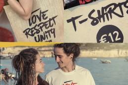 Couple wearing Zion t-shirts plus merchandise shot