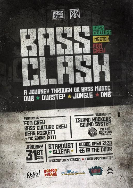 Bass Clash poster design for Bass Culture