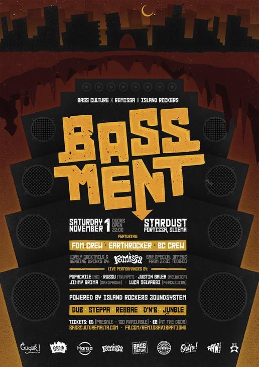 Bassment poster design for Bass Culture