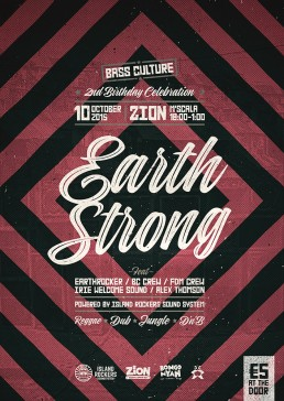 Earth Strong poster design for Bass Culture
