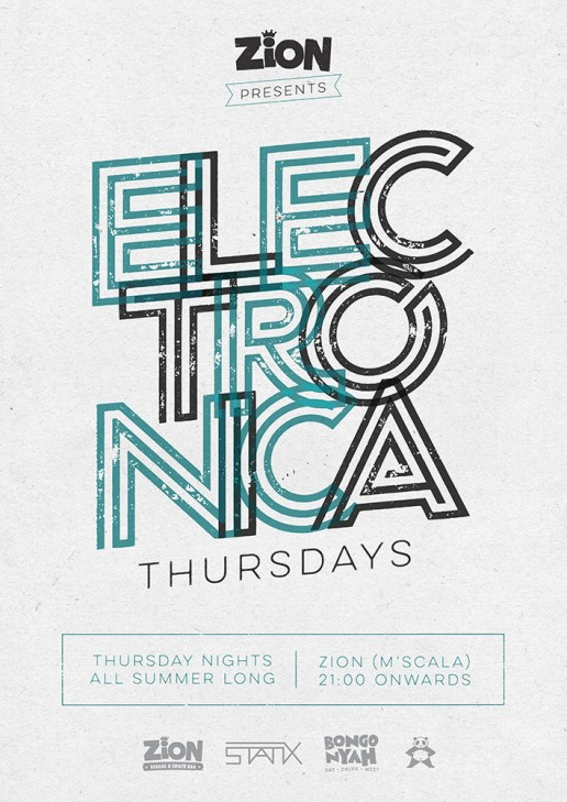 Poster design for Electronica Thursdays at Zion