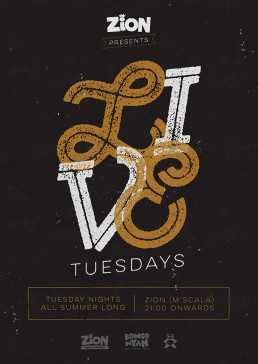 Poster design for Live Tuesdays at Zion