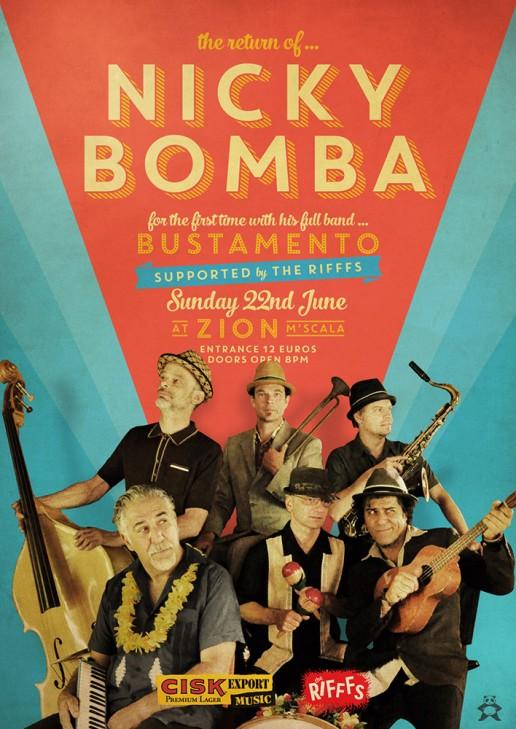 Nicky Bomba live at Zion poster design