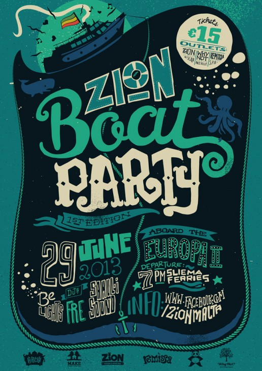 Zion Boat Party poster design
