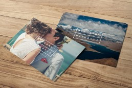 Dragana Rankovic postcard design on wood table