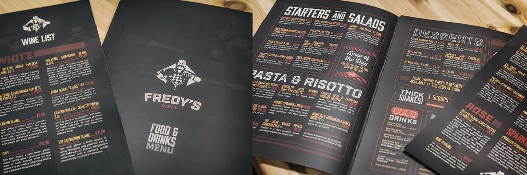 Menu design for Fredy's Diner Qormi