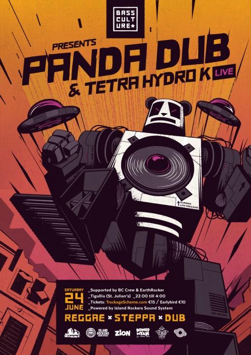 Poster design for Panda Dub & Tetra Hydro K by Bass Culture Malta
