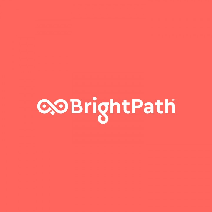 Bright Path logo on coral coloured background