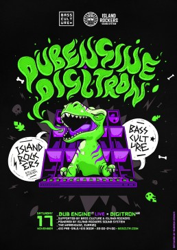 Poster design for Dub Engine & Digitron by Bass Culture Malta