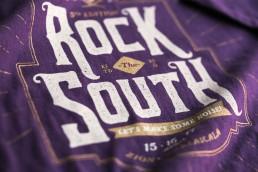 Close up shot of Rock the South 2016 t-shirt design