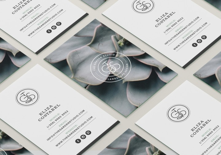 The Garden Studio business cards design layout on table