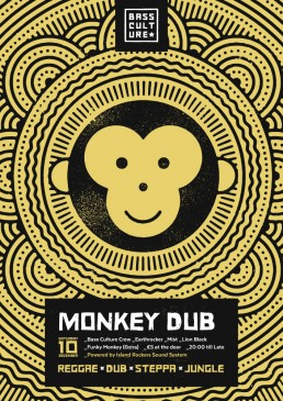 Poster design for Monkey Dub by Bass Culture Malta