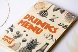 Bongo Nyah printed drinks bound menu