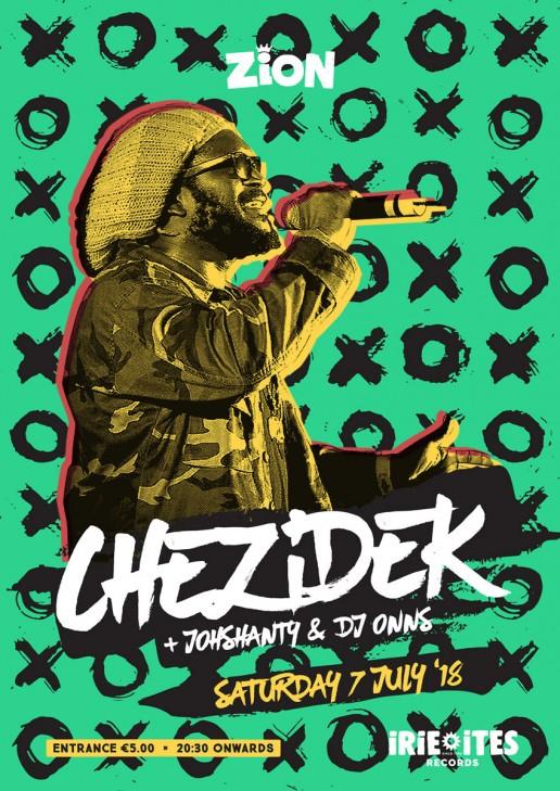 Poster design for reggae event featuring Chezidek at Zion Malta