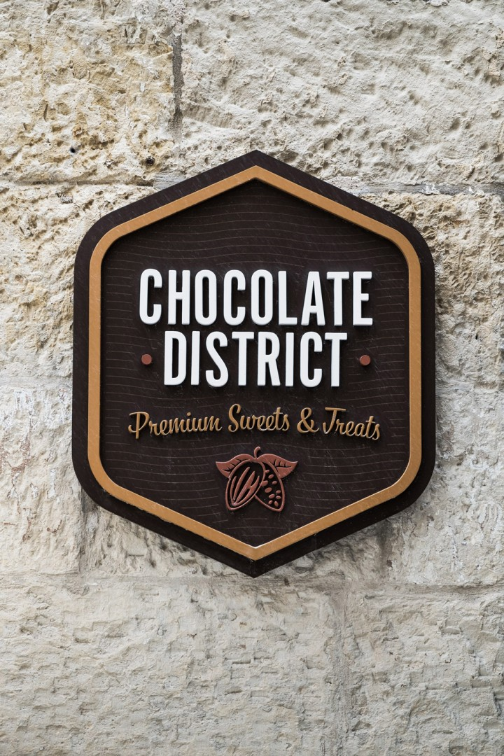 Exterior shot of Chocolate District sign in Valletta
