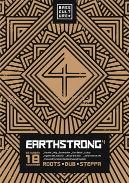 Poster design for Earthstrong 4 by Bass Culture Malta