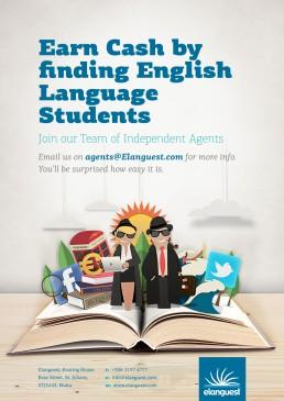Elanguest become an agent artwork design poster