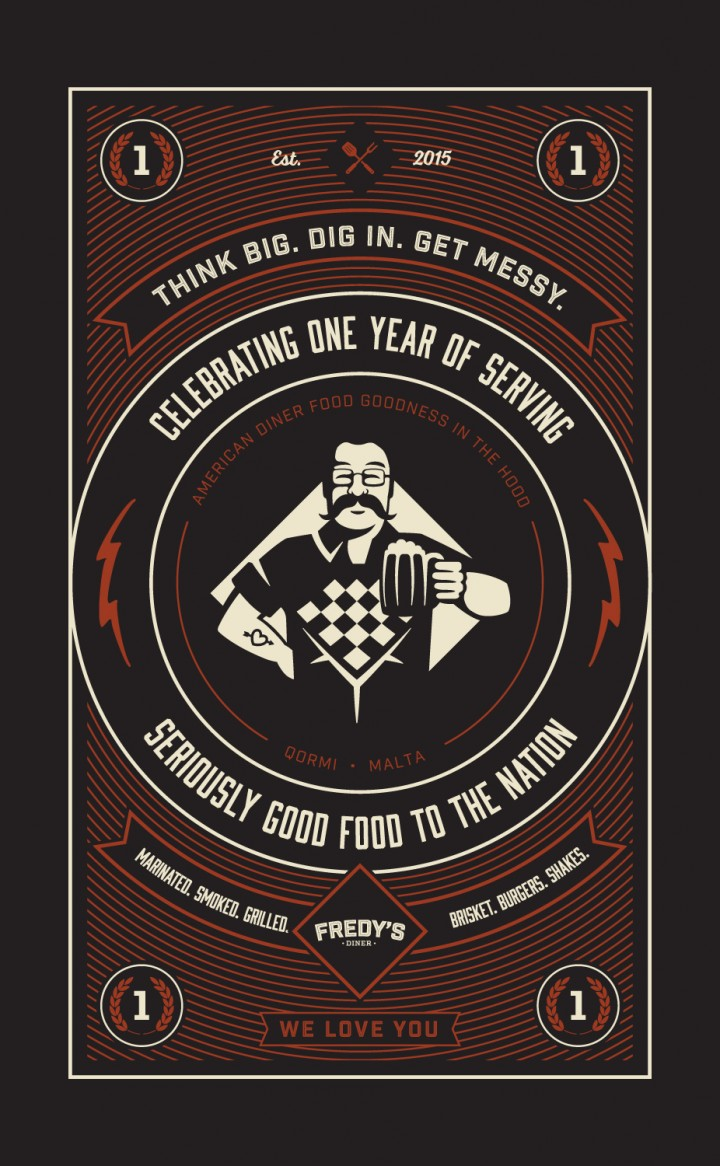 Fredy's Diner one year celebration artwork poster