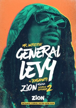 Poster design for reggae event featuring General Levy at Zion Malta