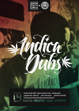 Poster design for Indica Dub by Bass Culture Malta