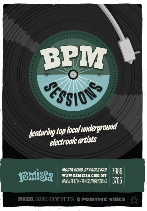 Poster design for electronic music nights at Remissa