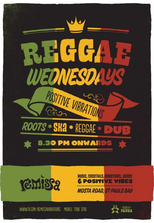 Poster design for reggae Wednesdays at Remissa