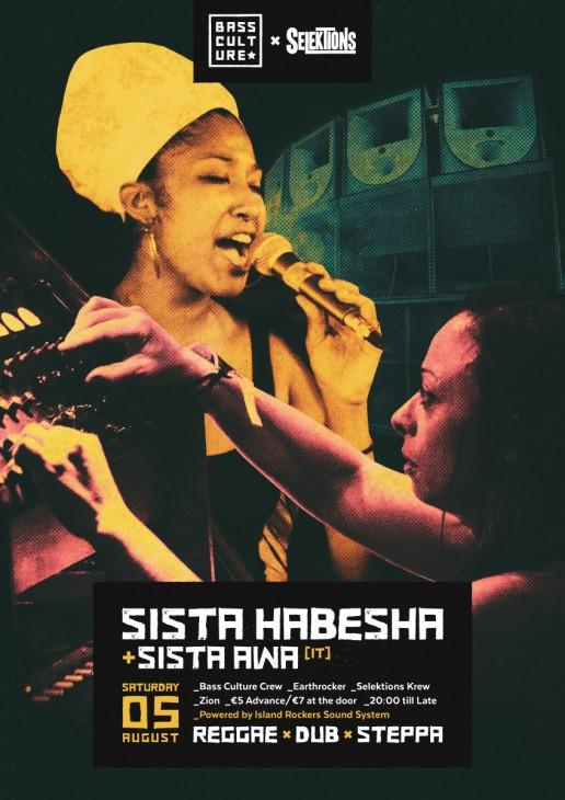 Poster design for Sista Habesha & Sista Awa by Bass Culture Malta