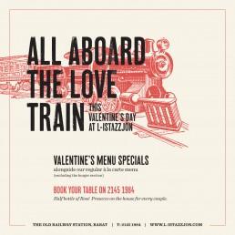 L-Istazzjon in Rabat railway station Valentines Day advert design