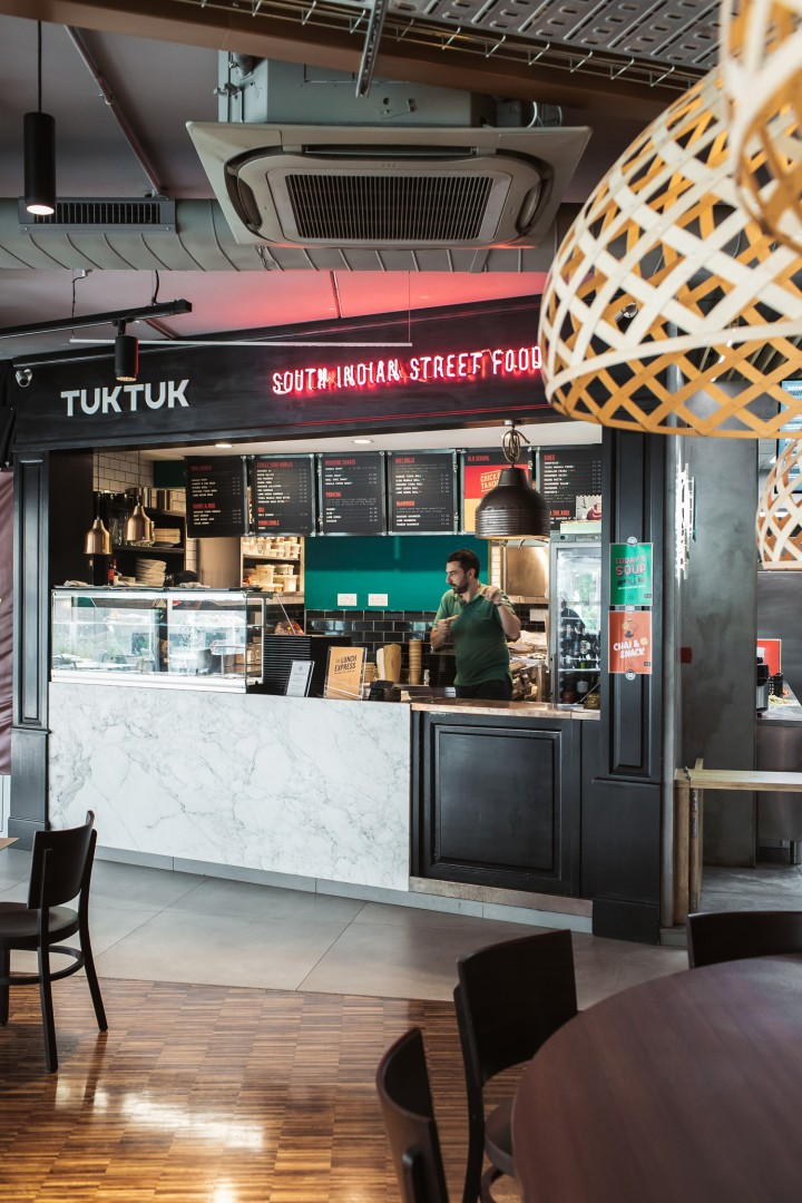 Interior design for Tuktuk South Indian kitchen at Carob Tree food court
