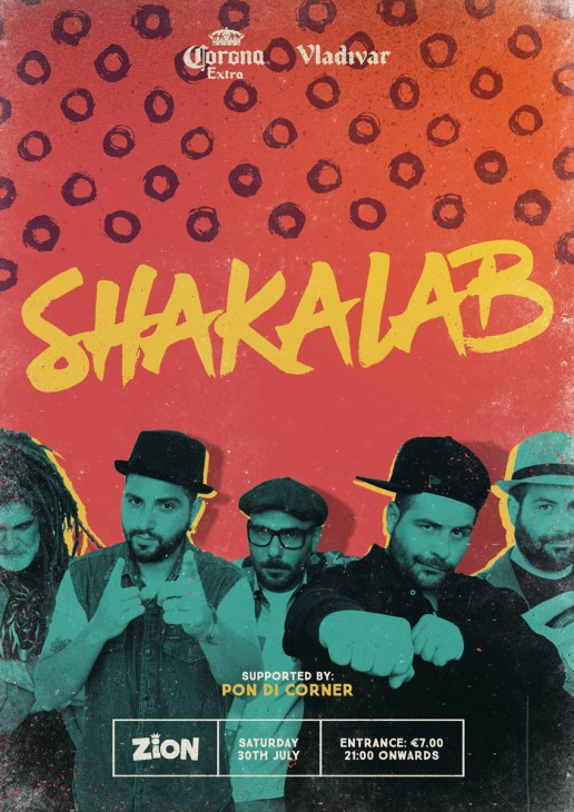 Poster design for reggae event featuring Shakalab at Zion Malta